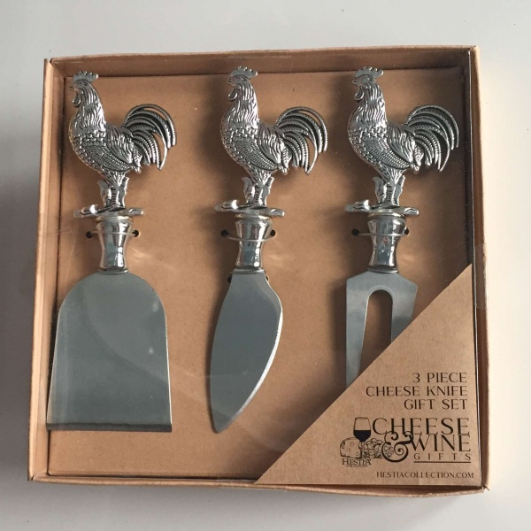 Cheese knife set hen design