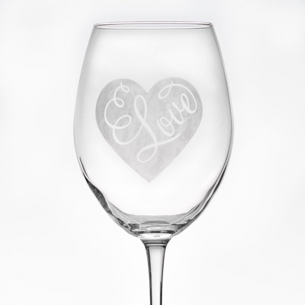 Love Heart Large Wine Glass - Personalisation available