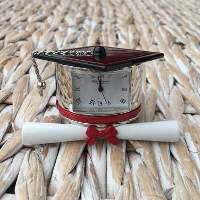 Graduation Scroll clock miniature