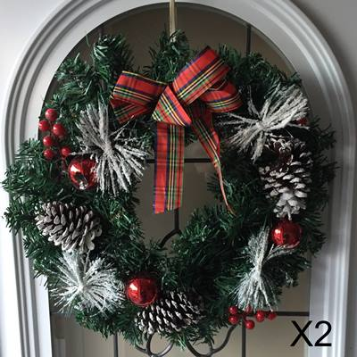 42cm Spruce/pine snow wreath [X2]