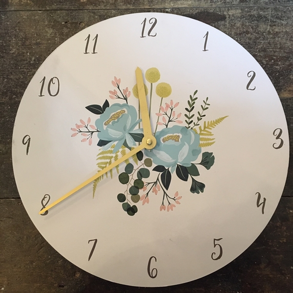 Blue Flowers Wall Clock