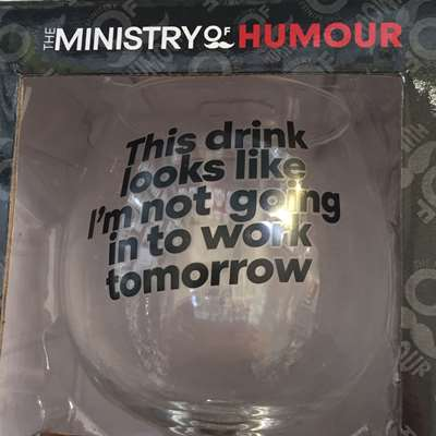 Humorous Gin Glass and coaster