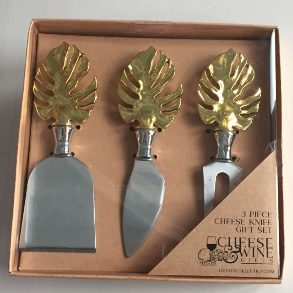 Cheese knife set Leaf design